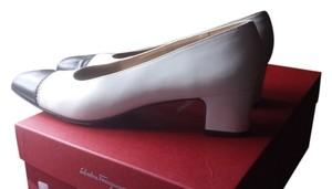 Salvatore Ferragamo white black Pumps