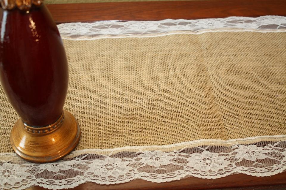 Tan And White 10 Burlap Antique Lace Table Runners 14x108 Reception Decoration