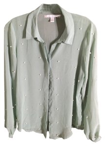 LC Lauren Conrad Green Pearl Top Sage Green