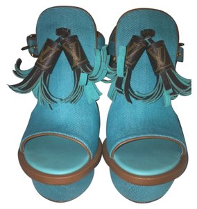 Louis Vuitton Teal Wedges