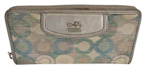 Coach ZIP AROUND ACCORDION OP C WALLET BLUE RARE