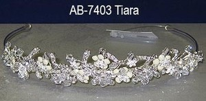 Clear Crystal & Ivory Bridal Tiara