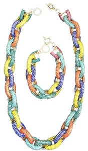 J.Crew NWOT Multicolor crystal pave link necklace and bracelt (J Crew Style).