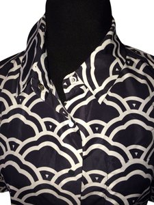 Diane von Furstenberg Button Down Shirt Graphic Clouds Medium Navy