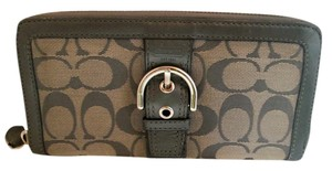 Coach ZIP AROUND WALLET GRAY EXCELLENT SHAPE