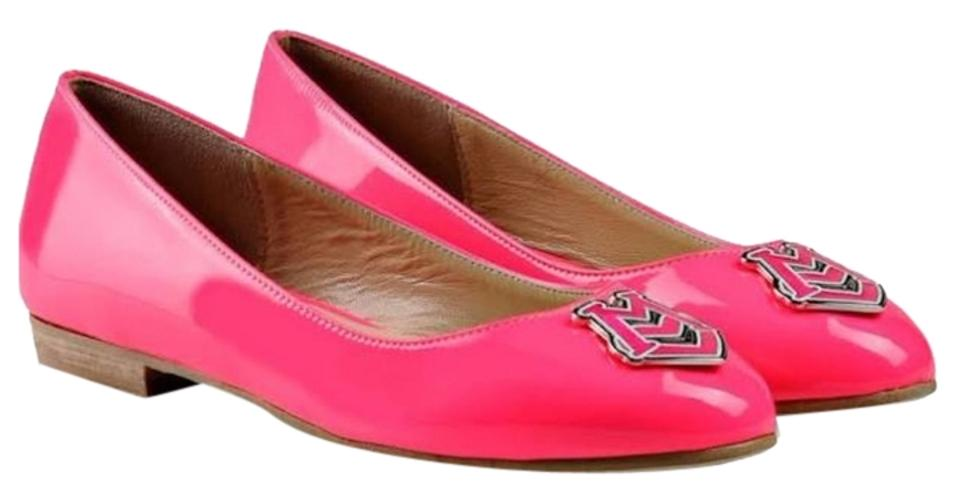 woman Love Pink Moschino Neon Pink Love Flats New design 58ad9d