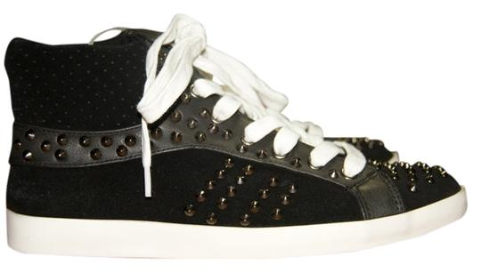 Steve Madden Black Leather and Suede Studded Athletic