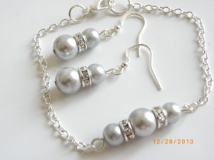 Other Sale Set Of 6 Bridesmaid Set Bracelet And Earrings Set Of 6 Gray Pearl Earrings Bridal Jewelry Rhinestone Crystal