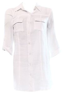 Cupio White Womens Textured Shirt Button Down Shirt Whites