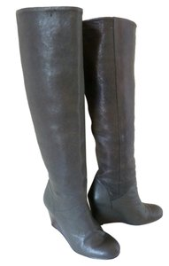 Stuart Weitzman Knee-high Supple Leather Wedge Green Boots