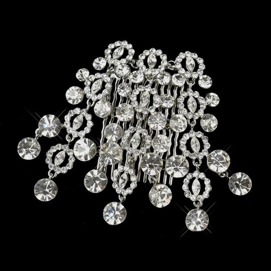 Silver Antique Round Cut Dangle Rhinestone Comb Hair Accessory