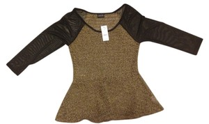Joyce Leslie Peplum Knit Mesh Sheer Cool Awesome H&m Top Brown and Black