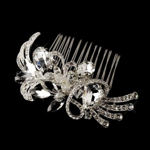 Silver Vintage Inspired Swarovski Crystal Rhinestone Bead Comb Hair Accessory