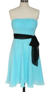 Blue Chiffon Pleated Bust W/ Sash Dress