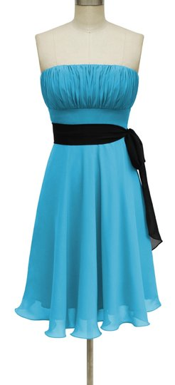 Blue Chiffon Pleated Bust W/ Sash Feminine Bridesmaid/Mob Dress Size 16 (XL, Plus 0x)