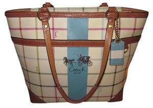 Coach Leather Tote in Multi-Color