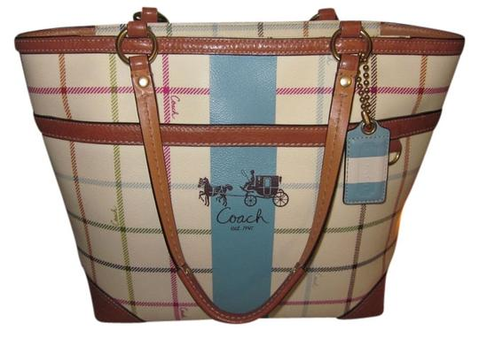 Coach Shoulder Leather Tote in Multi-Color