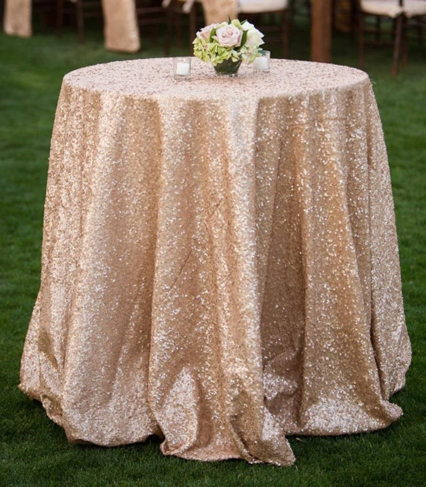 108 round champagne sequin tablecloth tradesy weddings for Champagne seguin