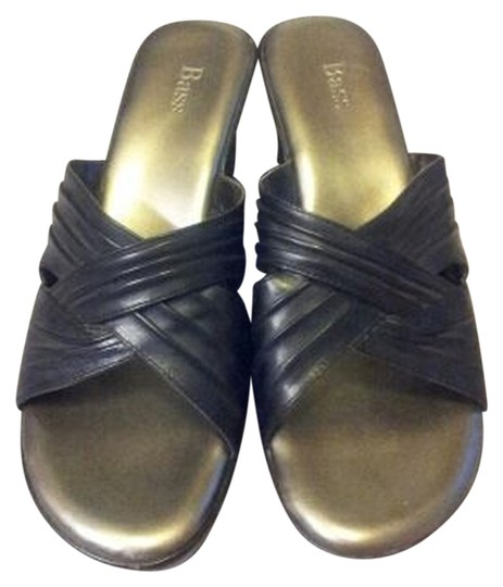 Bass Silver Black Wedges