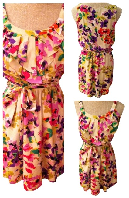 Express short dress Cream, Multicolor, floral on Tradesy