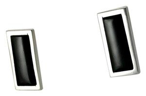 Victor Trujillo Vintage Sterling & Onyx Earrings - Rectangle Mod Earrings - Minimalist Post Earrings - Victor Trujillo Signed