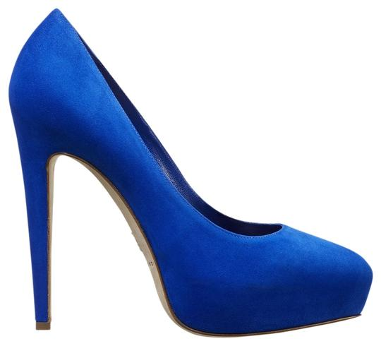 Brian Atwood Electric Designer Blue Fluo Suede Pumps