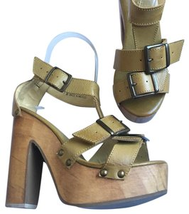 Bed|Stü Chunky Wedge Leather Summer Yellowish/tan & brown wooden soles Wedges