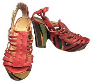 Nine West Wedge Leather Red/Multi Wedges