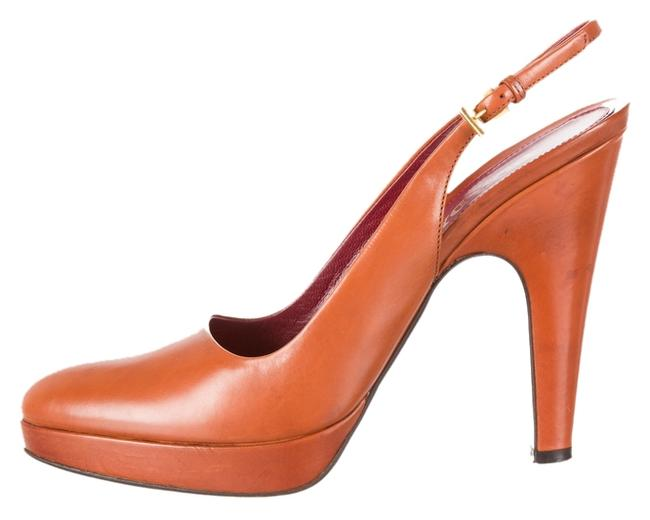 Prada Cognac Leather Slingback Heels Pumps Size US 8 Prada Cognac Leather Slingback Heels Pumps Size US 8 Image 1