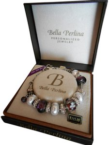 Bella Perlina Bella Perlina Pearl and Purple with Silver Bracelet