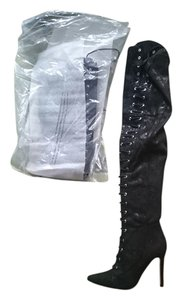 Guess Leather Knee-high Zipper Black Boots