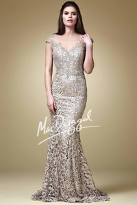Mac Duggal Couture Champagne Embellished Cap Sleeve Dress