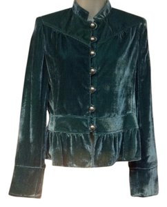 fashionista Velvet New Vintage Silk Green Blazer