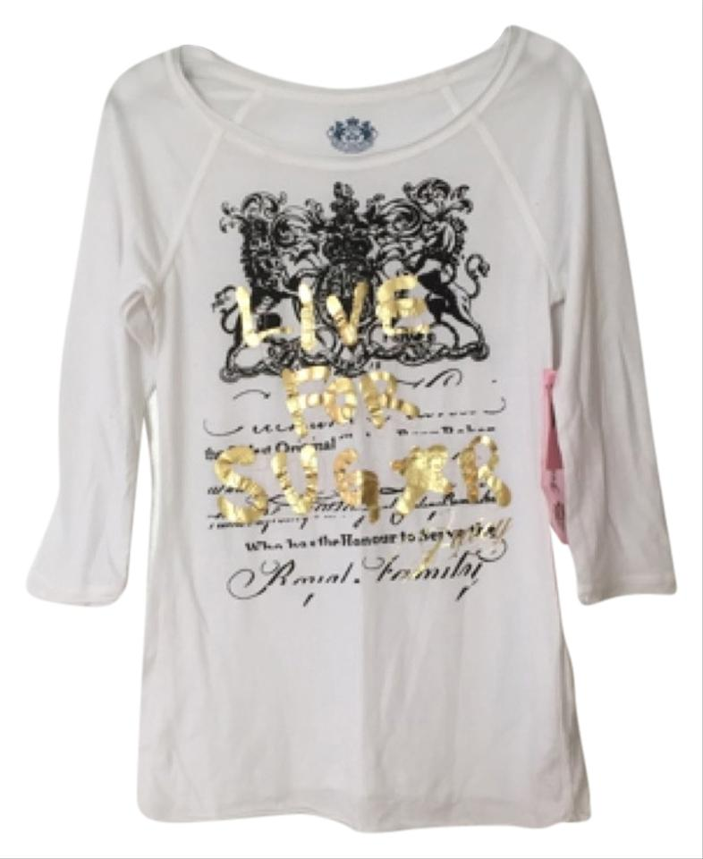 f724a277fb Juicy Couture White Black Gold Tee Shirt Size Petite 4 (S) - Tradesy