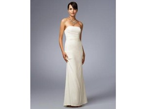 Nicole Miller Antique White Silk Strapless Pintucked Crepe Bridal Dg0022 Formal Wedding Dress Size 4 (S)