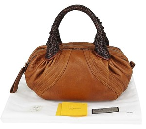 Fendi Light Nappa Leather Satchel in Brown
