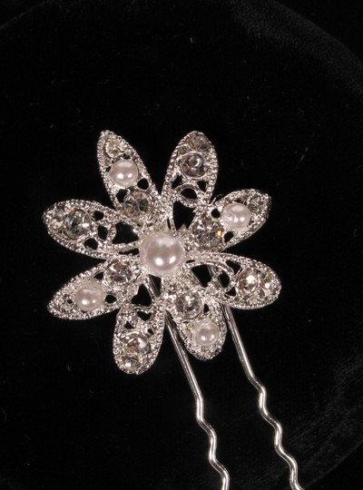 Silver Color with Clear Rhinestones & White Pearls Your Dream Dress Exclusive Shp327 Pin Headpiece Hair Accessory Image 1