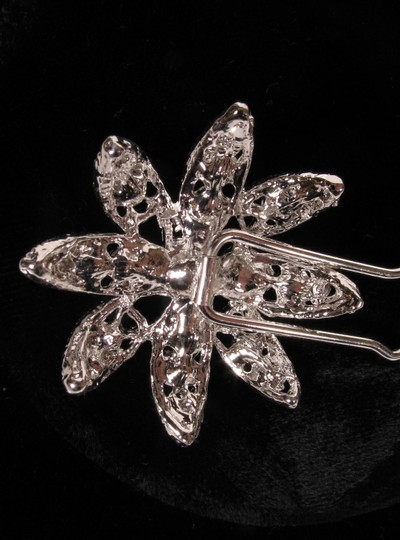 Silver Color with Clear Rhinestones & White Pearls Your Dream Dress Exclusive Shp327 Pin Headpiece Hair Accessory Image 3