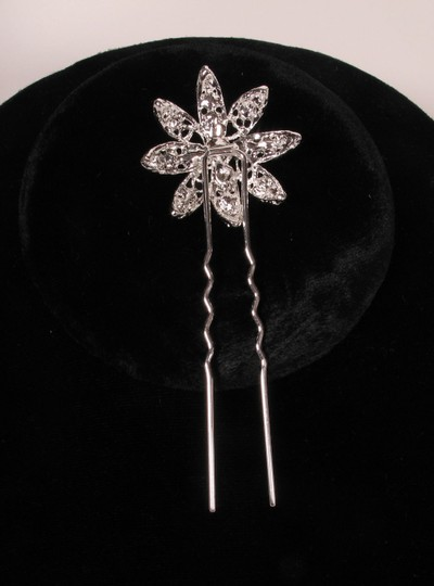 Silver Color with Clear Rhinestones & White Pearls Your Dream Dress Exclusive Shp327 Pin Headpiece Hair Accessory Image 2