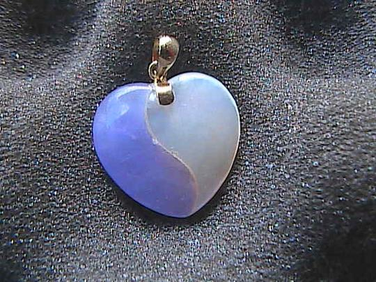 Other 14k Yellow Gold Mother of Pearl & Jade Heart Pendant Image 5