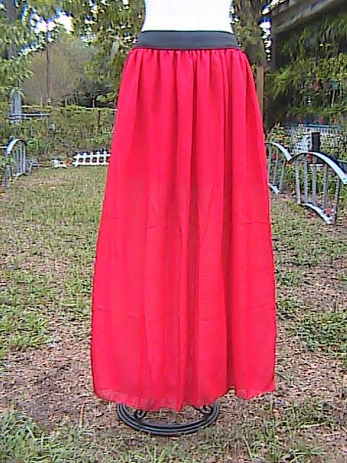 Other W/O Tag Chiffon Maxi Skirt Red Image 3
