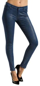 7 For All Mankind Glitter Skinny Jeans-Coated