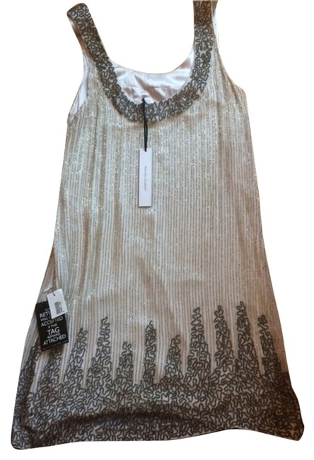 Rachel Gilbert White and Silver Gatsby Mid-length Night Out Dress Size 4 (S) Rachel Gilbert White and Silver Gatsby Mid-length Night Out Dress Size 4 (S) Image 1