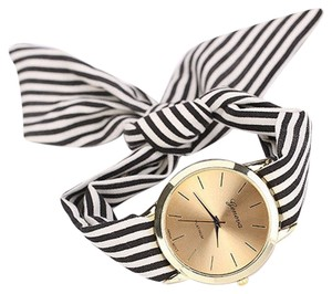 New Hot Design Black & white striped gold tone watch free shipping