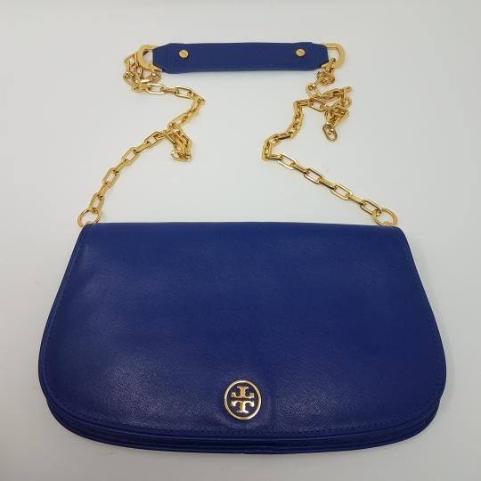 Tory Burch Textured Robinson Gold Hardware Chain Logo Shoulder Bag Image 4