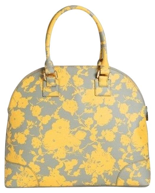 Item - Robinson Printed Large Leather Dome Satchel **sold Out At Nordstroms** Daisy Gray and Yellow Canvas Tote