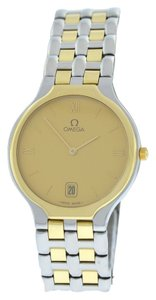 Omega Omega Deville 18K Gold Bezel 32MM Steel Date Quartz Watch