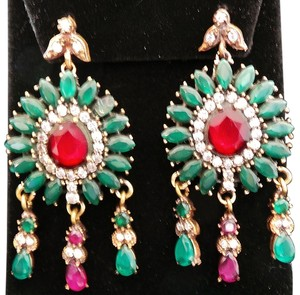Ruby, Emerald,and White Topaz 925 Sterling Silver Dangle Earring