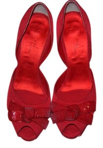 Rhona by Sgariglia red satin with a sequined bow Pumps