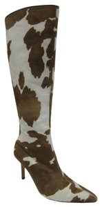 Manolo Blahnik Pony Hair Pointed Toe Brown, White.. Boots